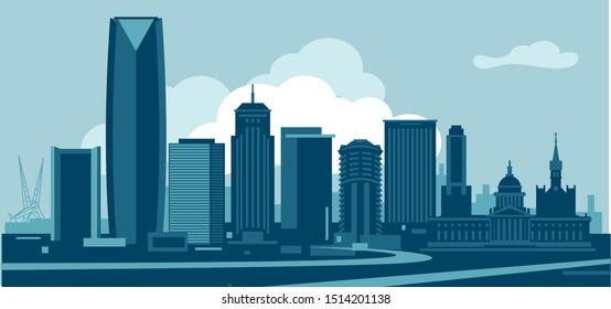 Oklahoma City USA urban skyline vector illustration