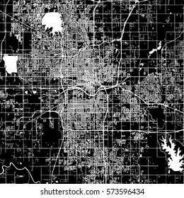 Oklahoma City Vector Map, Artprint. Black Landmass, White Water and Roads.