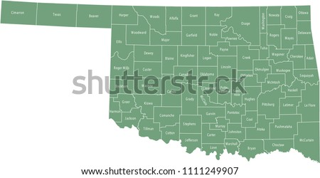 Oklahoma county map vector
