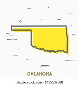 Oklahoma map in thin line style with small geometric figures. Vector illustration modern concept