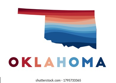Oklahoma map. Map of the us state with beautiful geometric waves in red blue colors. Vivid Oklahoma shape. Vector illustration.