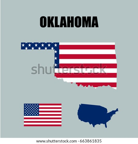 Oklahoma Map In Usa.Oklahoma Map Usa Flag Stock Vector Royalty Free 663861835