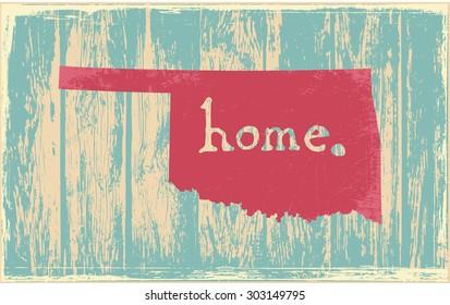 Oklahoma nostalgic rustic vintage state vector sign