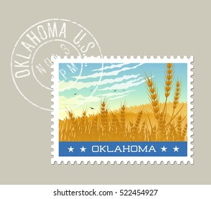 Oklahoma postage stamp design. Vector illustration of wheat fields under morning sky. Grunge postmark on separate layer