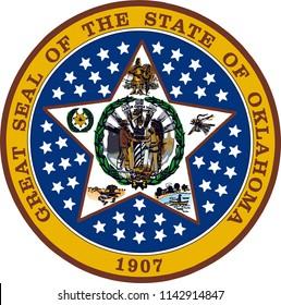 Oklahoma State Flag Seal Love Heart United States America American Illustration