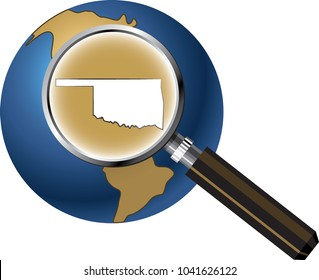 Oklahoma State Map Enlarged with Magnifying Glass on Globe