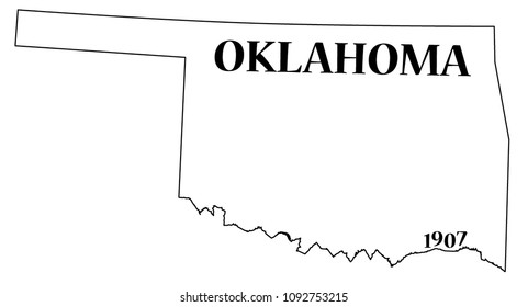 An Oklahoma state outline with the date of statehood isolated on a white background
