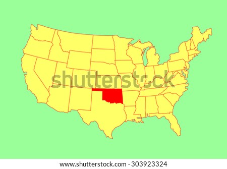 Oklahoma State USA Vector Map Isolated Stock Vector (Royalty Free ...