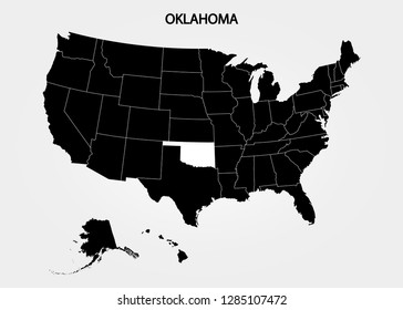 Oklahoma. States of America territory on gray background. Separate state. Vector illustration