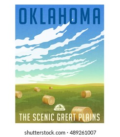 Oklahoma, United States retro travel poster or luggage sticker. Scenic field with round hay bales vector illustration