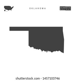 Oklahoma US State Blank Vector Map Isolated on White Background. High-Detailed Black Silhouette Map of Oklahoma.
