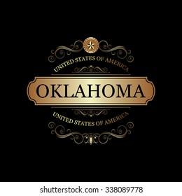 Oklahoma USA State.Vintage frame.