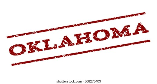 Oklahoma watermark stamp. Text tag between parallel lines with grunge design style. Rubber seal stamp with unclean texture. Vector dark red color ink imprint on a white background.