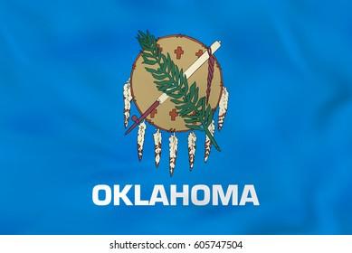 Oklahoma waving flag. Oklahoma state flag background texture.Vector illustration.