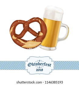 Oktoberfest 2018 background with a pretzel and a glass of beer