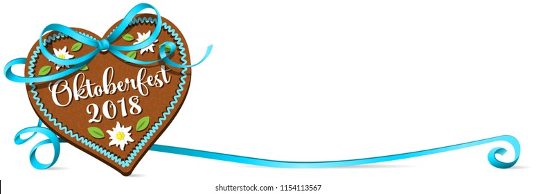 Oktoberfest 2018 gingerbread heart with blue ribbon bow. Oktoberfest banner.