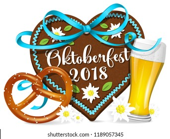 Oktoberfest 2018 gingerbread hearts with pretzel and beer isolated