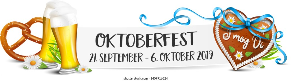 Oktoberfest 2019 date banner isolated (German festival event)