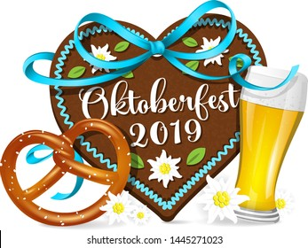 Oktoberfest 2019 gingerbread heart with pretzel and beer