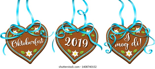 Oktoberfest 2019 gingerbread hearts hanging with ribbon isolated (German festival)