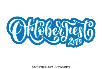 Oktoberfest 2019 logotype. Beer Festival vector banner. Illustration of Bavarian festival design on textured background. Blue, white lettering typography for logo, poster, card, postcard.