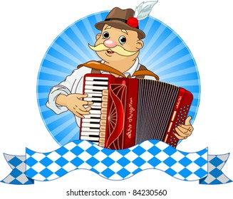 Oktoberfest Accordion Player  with stripe for text