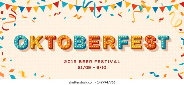 Oktoberfest advertisement template. Autumn season cultural event. German beer festival promotional poster layout. Paper garland and confetti flat illustration with carnival style lettering