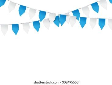 Oktoberfest background. Bright buntings garlands isolated on white background. Decorated in traditional colors of Bavaria.