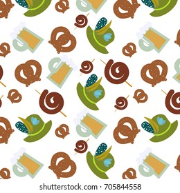 Oktoberfest background. Cute seamless pattern. Vector illustration.