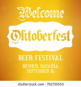Oktoberfest background. Vector design template for beer festival in Germany, Munich, Bavaria. Greeting card, Party flyer, poster layout for celebration in september and october. Yellow illustration
