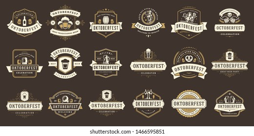 Oktoberfest badges and labels set vintage typographic design templates vector illustration. Willkommen zum invitations beer festival celebration decoration objects and symbols.