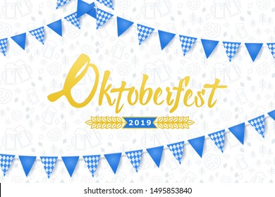 Oktoberfest banner. Background with Oktoberfest lettering logo, holiday garland buntings of Bavarian checkered blue flag and pattern with beer mugs and pretzels. Germany beer festival Oktoberfest