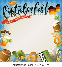 Oktoberfest banner with hat, accordion, sausage, pretzel, hops, flag and mug of beer. Vector illustration.