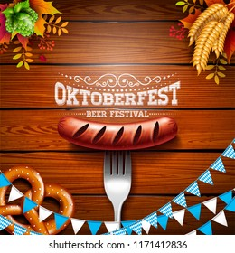 Oktoberfest Banner Illustration with Typography Lettering on Wooden Background. Vector Traditional German Beer Festival Design with Bavaria Party Flag, Pretzel, Sausage, Wheat and Hop for Greeting