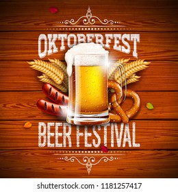 Oktoberfest Banner Illustration with Typography Lettering and Fresh Beer on Vintage Wood Background. Vector Traditional German Beer Festival Design with Wheat, Pretzel, Sausage and Autumn Leaves for