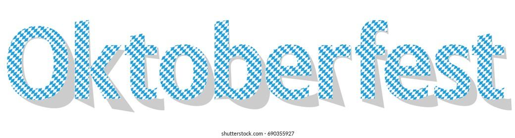 Oktoberfest Banner light blue letters on a white background.