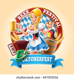 oktoberfest banner with sexy girl