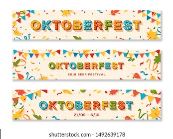 Oktoberfest banner templates set. Annual autumn season event. Traditional german beer festival advertising posters pack. Paper garlands, leaves and confetti flat illustrations with text space