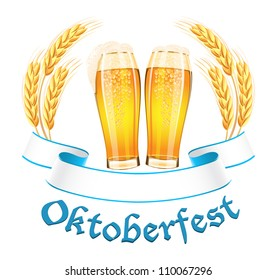 Oktoberfest banner with two beer glass and wheat ears