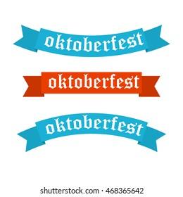 Oktoberfest banners in bavarian colors vector set. Bavaria festival white and blue Oktoberfest ribbon. Munich design national icon Oktoberfest ribbon culture tradition colorful sign.