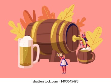 Oktoberfest Bavarian Festival Concept with Miniature Female Characters Waitress Wearing Traditional German Costume Dirndl Pouring Beer from Huge Wooden Barrel to Mugs. Cartoon Flat Vector Illustration