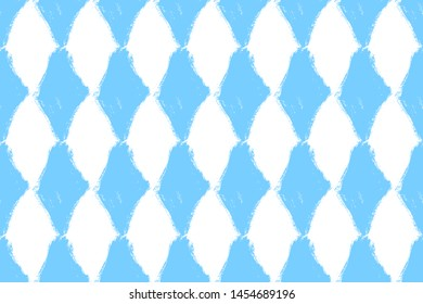 Oktoberfest Bavarian flag symbol background. Traditional blue white beautiful background pattern. Bavarian traditional seamless with blue rhombus. Vector illustration
