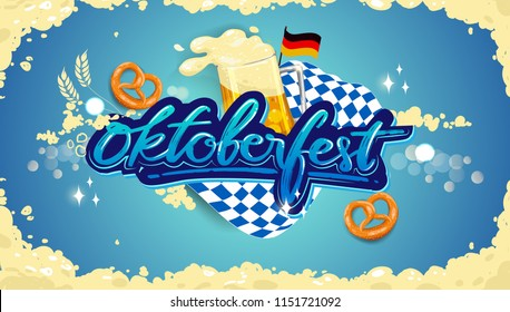 Oktoberfest beer festival, banner and poster template with Oktoberfest calligraphy hand lettering and beer. beer festival in German