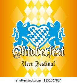 Oktoberfest Beer Festival Bavarian lions heart blue gold yellow background