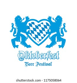 Oktoberfest Beer Festival Bavarian lions heart blue white background