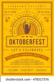 Oktoberfest beer festival celebration poster or flyer template retro typography. Oktoberfest Badge or Logo Retro Vector illustration.