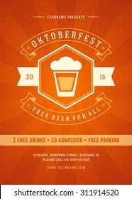 Oktoberfest beer festival celebration retro typography poster or flyer template.