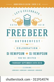 Oktoberfest beer festival celebration retro typography poster or flyer template.