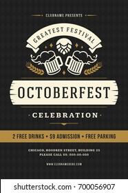 Oktoberfest beer festival celebration retro typography poster or flyer vector template.