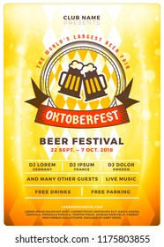 Oktoberfest beer festival celebration. Typography poster or flyer template for beer party. Vector illustration